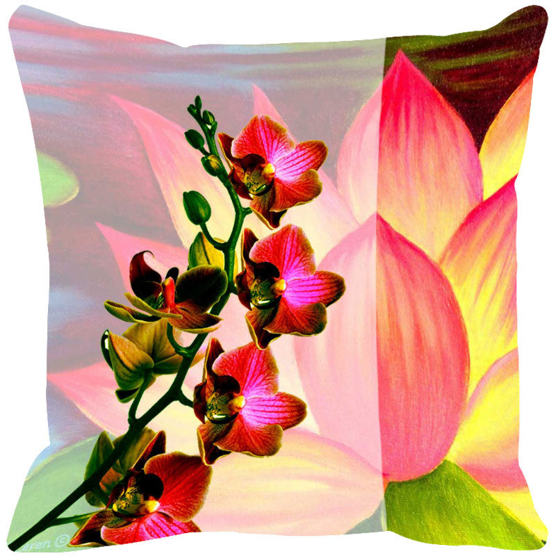 Leaf Designs Pink & Yellow Summer Floral Cushion Cover