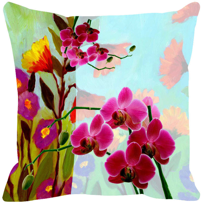 Leaf Designs Hot Pink & Blue Summer Floral Cushion Cover
