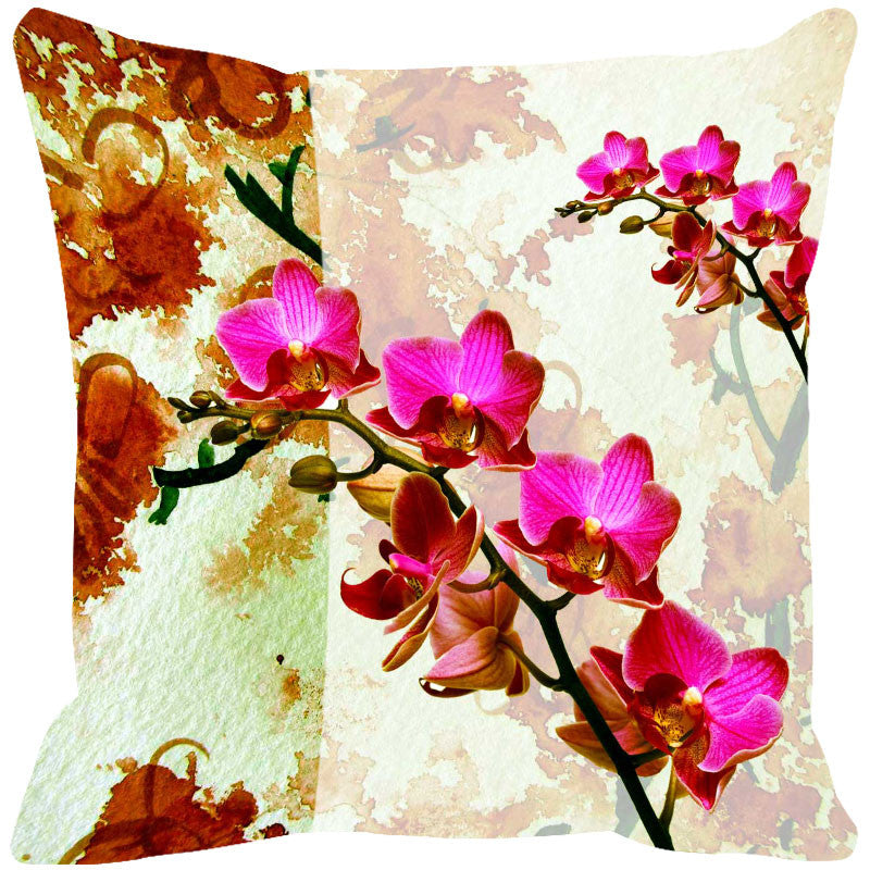 Leaf Designs Hot Pink & Rust Summer Floral Cushion Cover