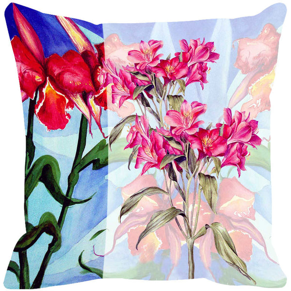 Leaf Designs Light Blue & Red Summer Floral Cushion Cover