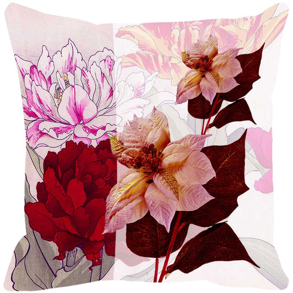 Leaf Designs Pale Pink & Deep Red Summer Floral Cushion Cover