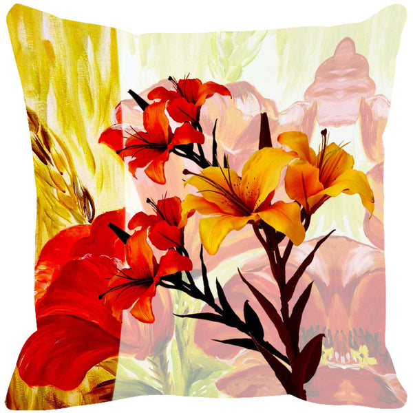 Leaf Designs Bright Red & Yellow Summer Floral Cushion Cover