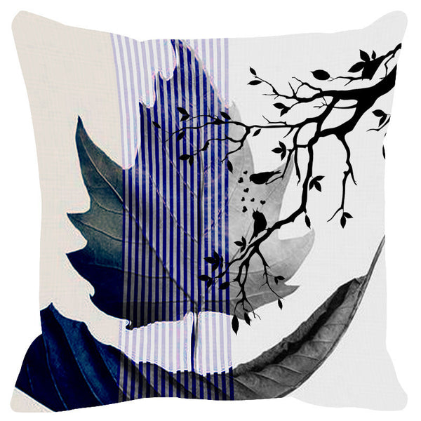 Leaf Designs Indigo & Blue Black Earth Flora Cushion Cover - Set Of 2