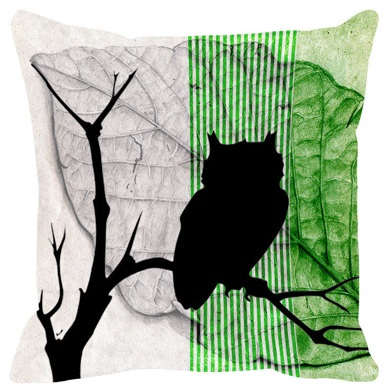 Leaf Designs Green Black Earth Flora Cushion Cover - Set Of 2