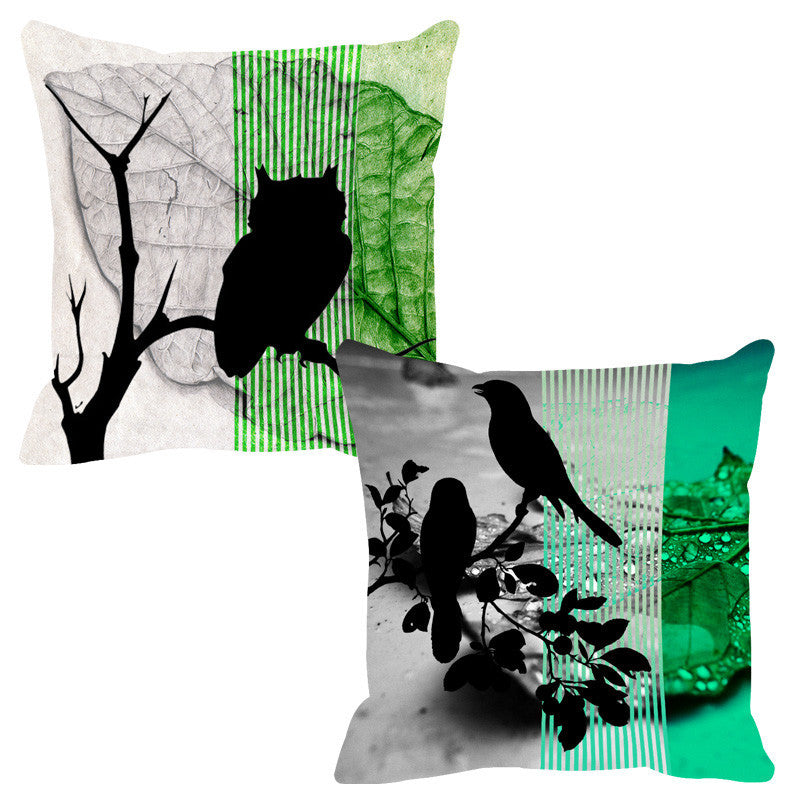 Leaf Designs Green & Lime Black Earth Flora Cushion Cover - Set Of 2