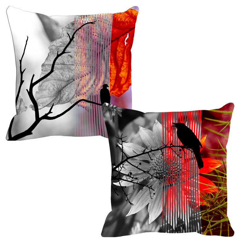 Leaf Designs Lilac & Red Black Earth Flora Cushion Cover - Set Of 2