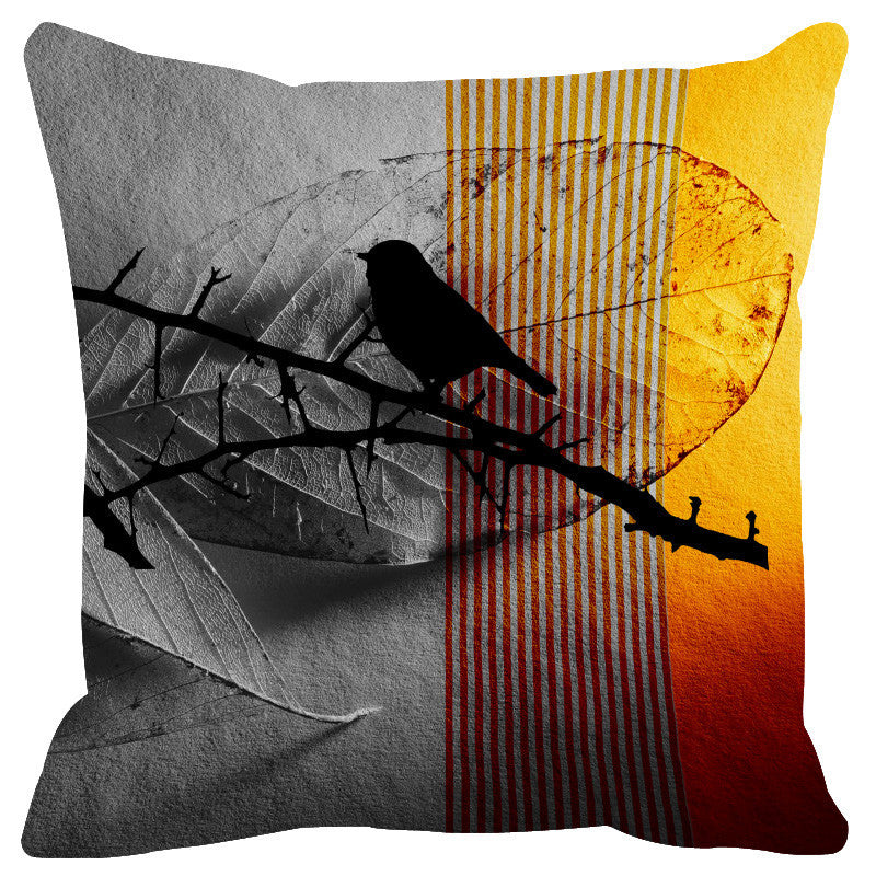 Leaf Designs Grey & Yellow Black Earth Flora Cushion Cover - Set Of 2