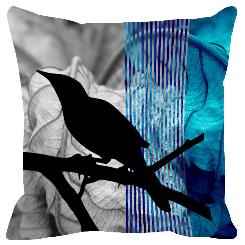Leaf Designs Blue Black Earth Flora Cushion Cover
