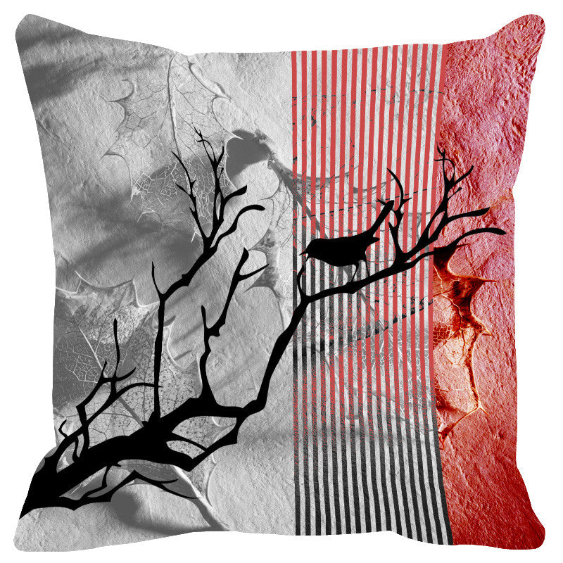 Leaf Designs Brick Black Earth Flora Cushion Cover