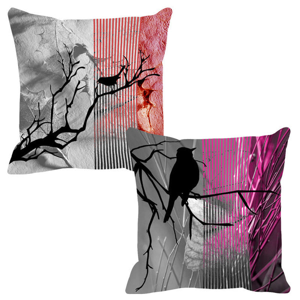 Leaf Designs Pink & Brick Black Earth Flora Cushion Cover - Set Of 2