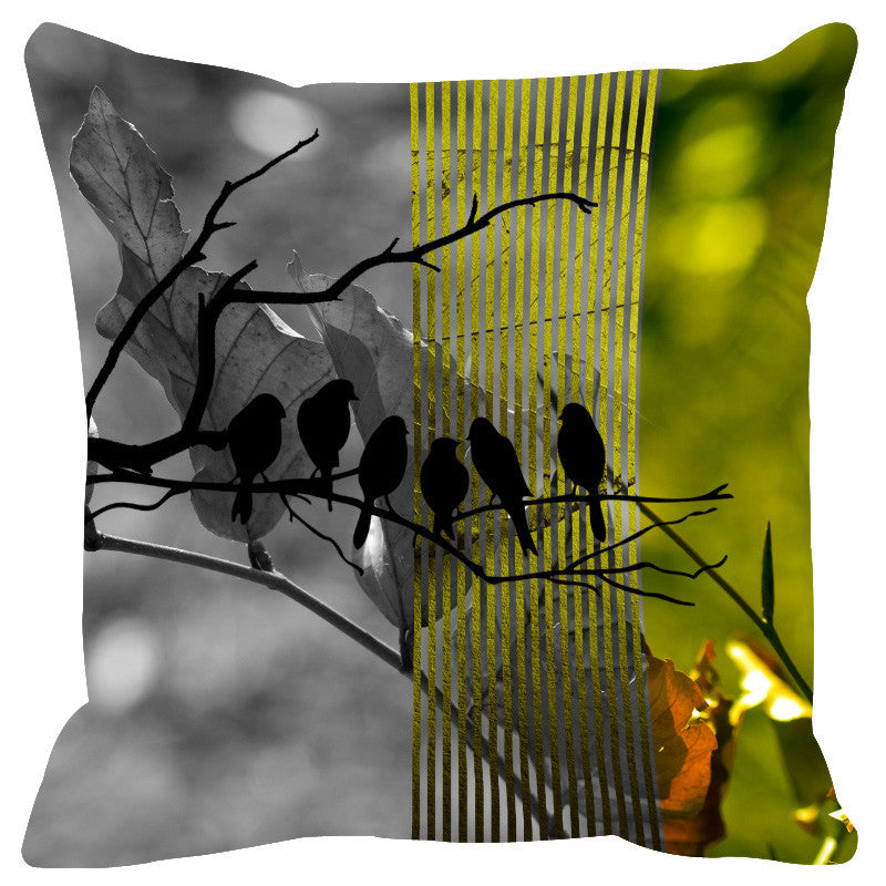 Leaf Designs Light Green Black Earth Flora Cushion Cover - Set Of 2