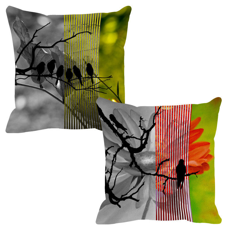 Leaf Designs Lime & Red Black Earth Flora Cushion Cover - Set Of 2
