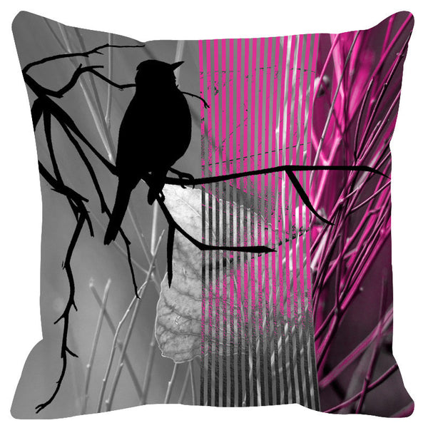 Leaf Designs Pink & Magenta Black Earth Flora Cushion Cover - Set Of 2