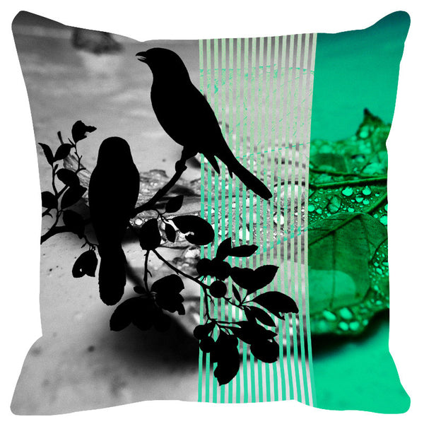 Leaf Designs Bright Green Black Earth Flora Cushion Cover