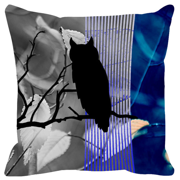 Leaf Designs Cobalt Blue Black Earth Flora Cushion Cover