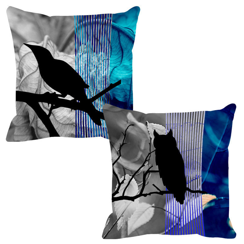 Leaf Designs Ink & Blue Black Earth Flora Cushion Cover - Set Of 2