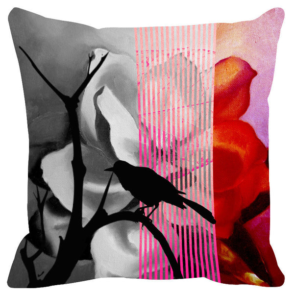 Leaf Designs Pink Red Black Earth Flora Cushion Cover - Set Of 2