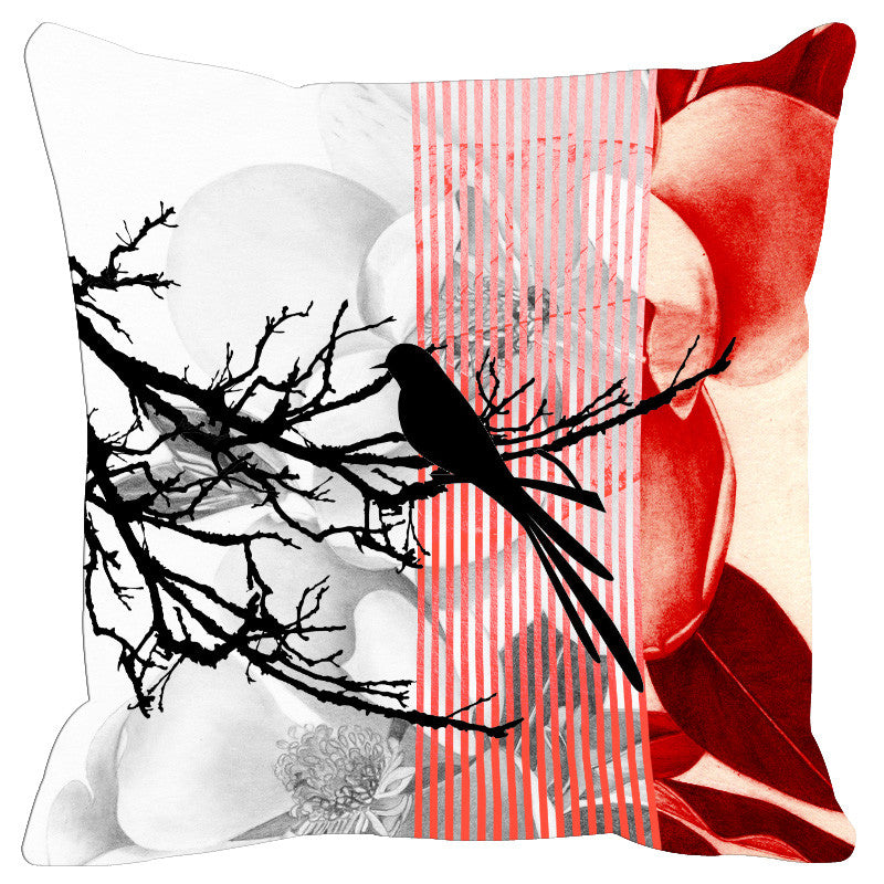 Leaf Designs Maroon Black Earth Flora Cushion Cover