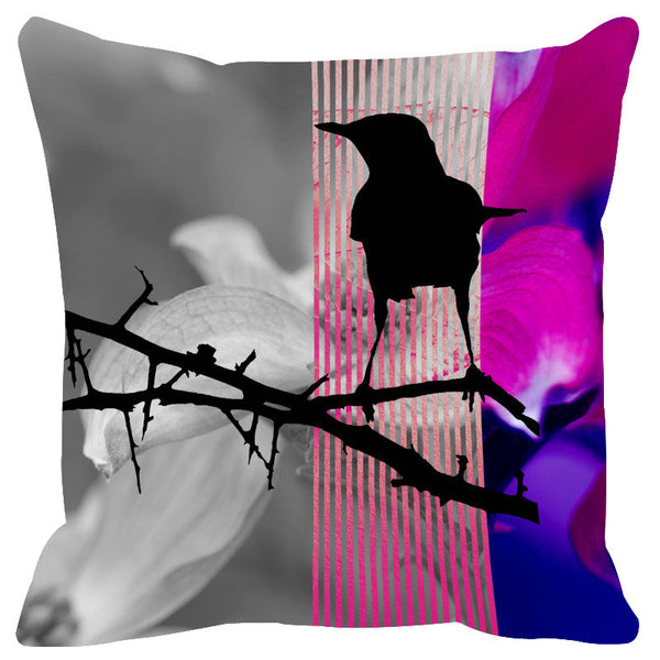 Leaf Designs Fuschia Black Earth Flora Cushion Cover - Set Of 2