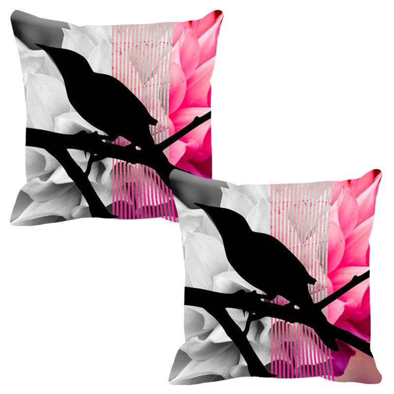 Leaf Designs Blush Black Earth Flora Cushion Cover - Set Of 2