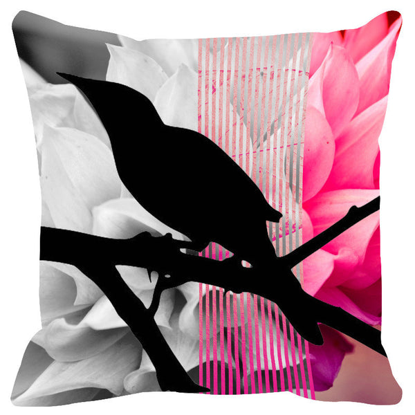 Leaf Designs Fuschia & Maroon Black Earth Flora Cushion Cover - Set Of 2