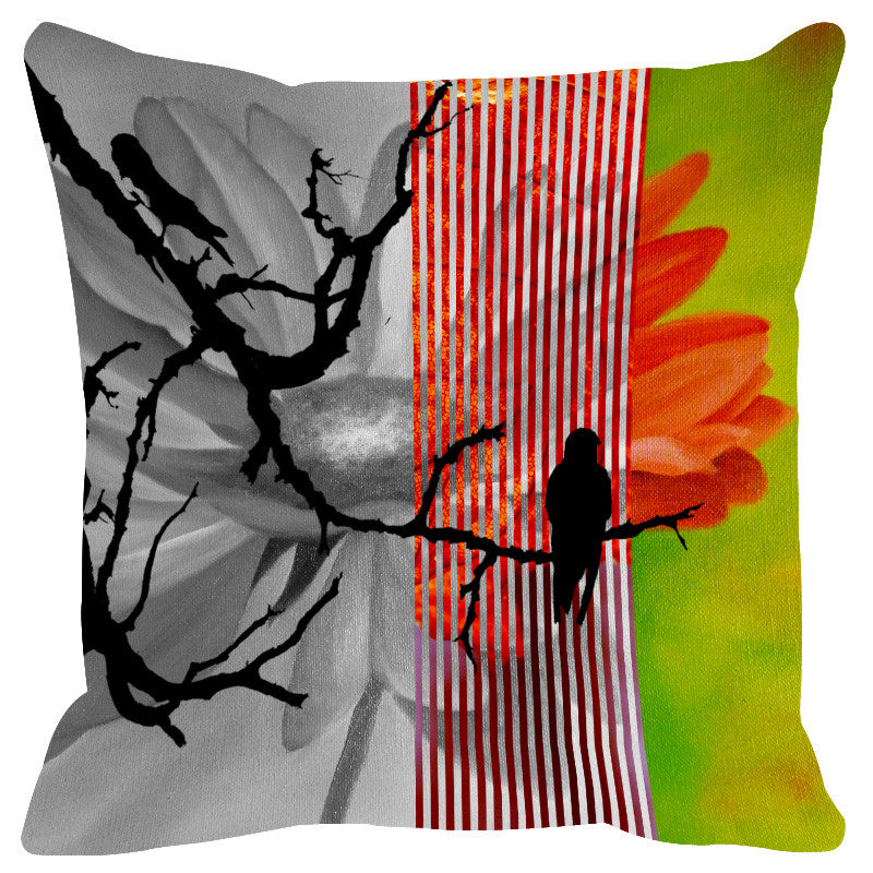 Leaf Designs Lime Black Earth Flora Cushion Cover