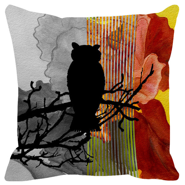 Leaf Designs Copper Black Earth Flora Cushion Cover