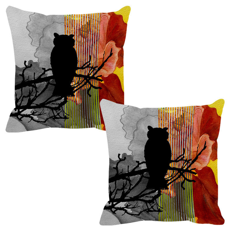 Leaf Designs Copper Black Earth Flora Cushion Cover - Set Of 2