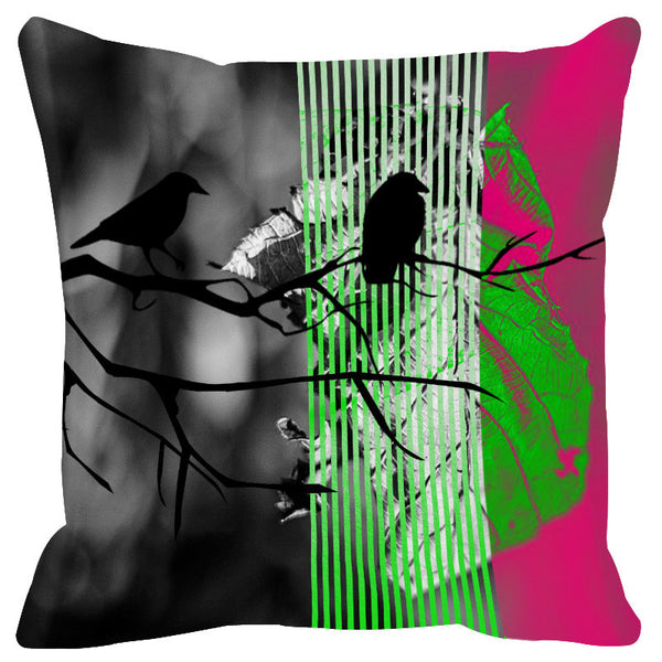 Leaf Designs Magenta Black Earth Flora Cushion Cover
