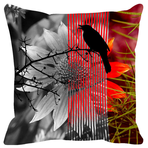 Leaf Designs Rose Black Earth Flora Cushion Cover - Set Of 2