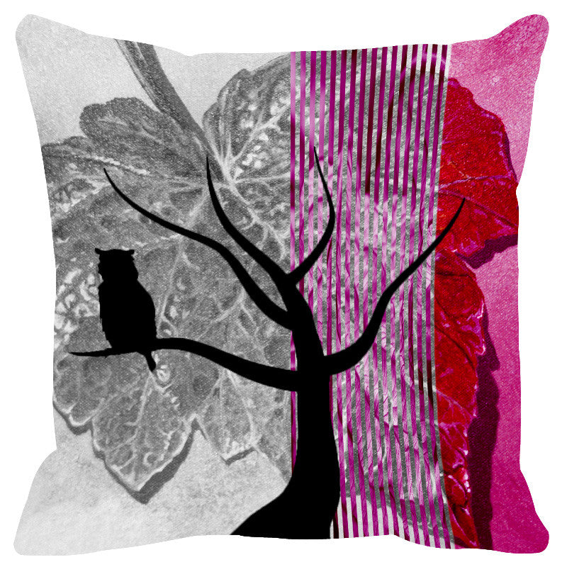 Leaf Designs Crimson Black Earth Flora Cushion Cover