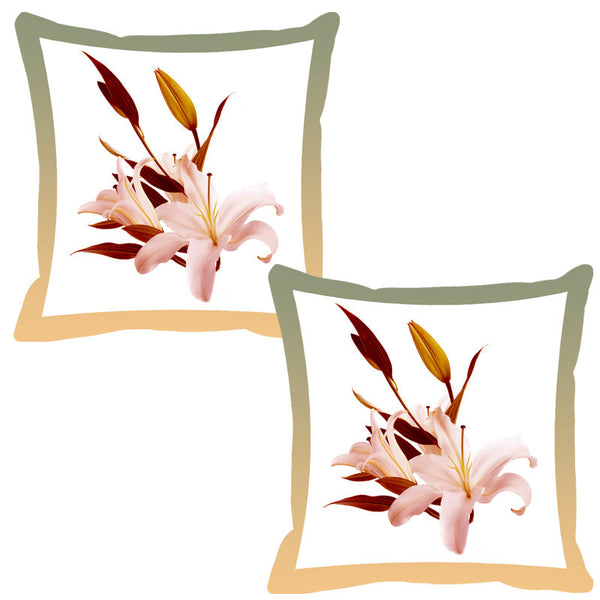 Leaf Designs Hazel Wood Shaded Border Floral Cushion Cover - Set Of 2