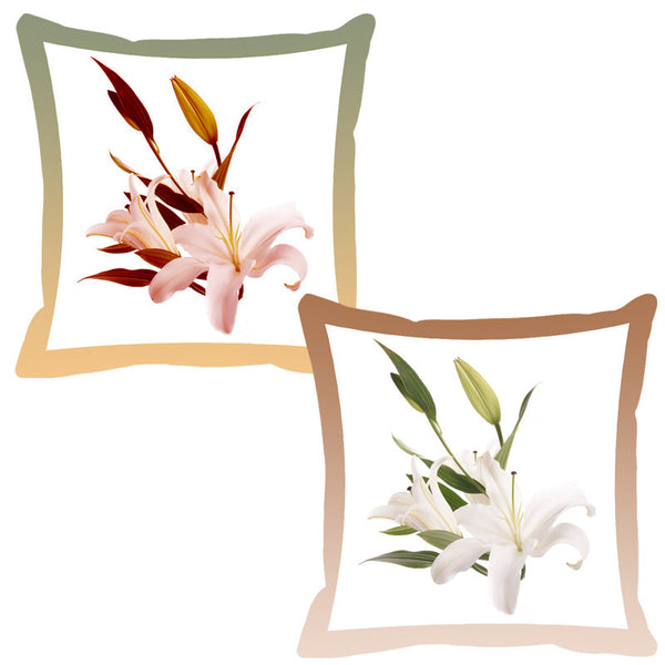 Leaf Designs Lemon & Coffee Shaded Border Floral Cushion Cover - Set Of 2
