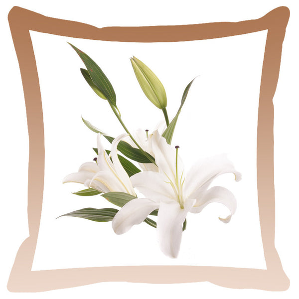 Leaf Designs Peanut Shaded Border Floral Cushion Cover