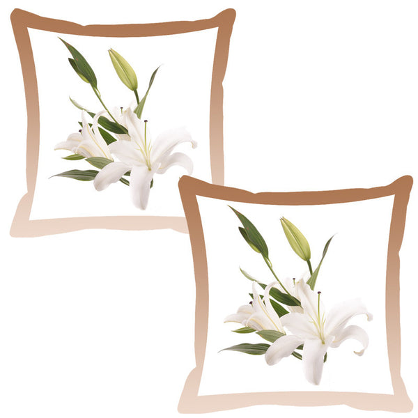 Leaf Designs Peanut Shaded Border Floral Cushion Cover - Set Of 2