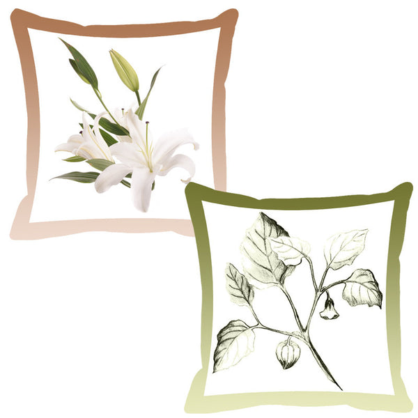 Leaf Designs Olive & Peanut Shaded Border Floral Cushion Cover - Set Of 2