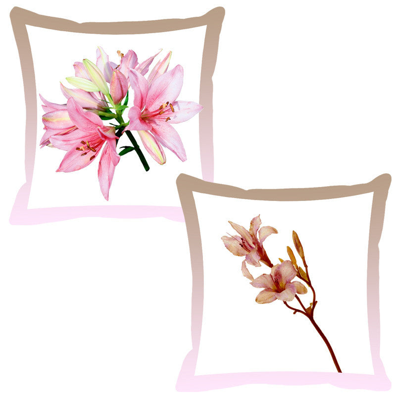 Leaf Designs Rose & Coffee Shaded Border Floral Cushion Cover - Set Of 2