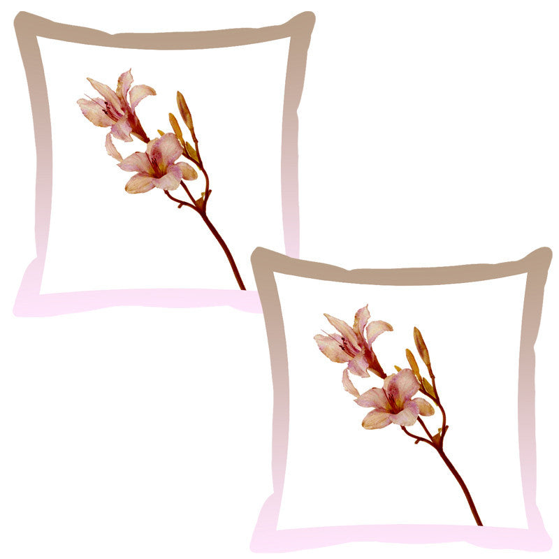 Leaf Designs Coffee Shaded Border Floral Cushion Cover - Set Of 2