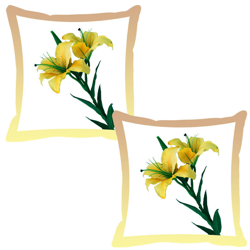 Leaf Designs Lemon Shaded Border Floral Cushion Cover - Set Of 2