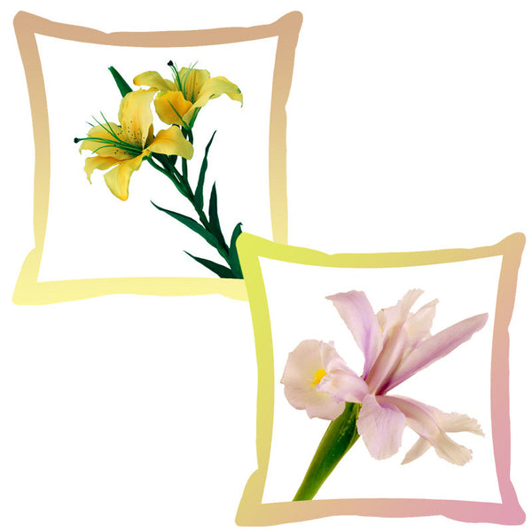Leaf Designs Rose & Lemon Shaded Border Floral Cushion Cover - Set Of 2
