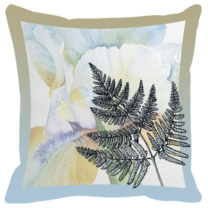 Leaf Designs Sky & Frost Shaded Border Floral Cushion Cover - Set Of 2