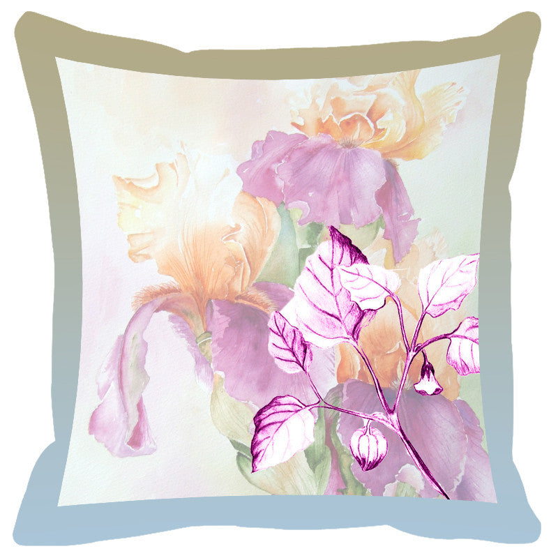 Leaf Designs Arctic Shaded Border Floral Cushion Cover - Set Of 2
