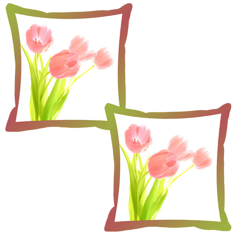 Leaf Designs Rust Shaded Border Floral Cushion Cover - Set Of 2
