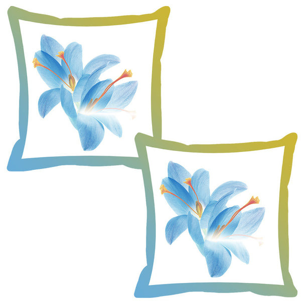 Leaf Designs Cornflower Shaded Border Floral Cushion Cover - Set Of 2
