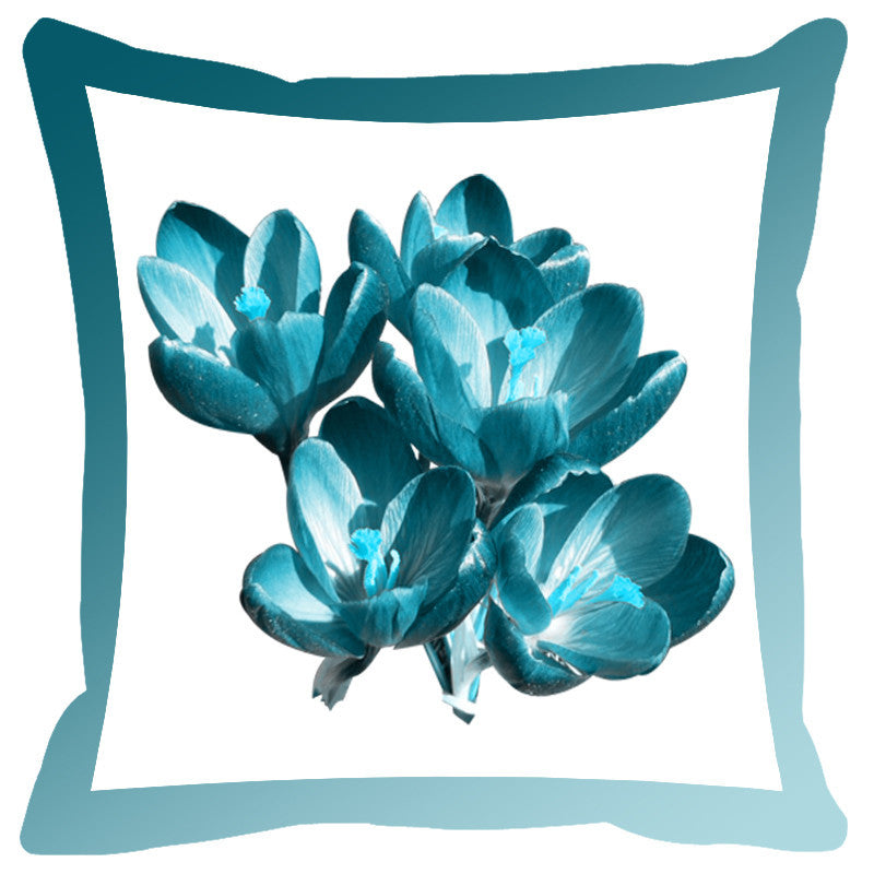 Leaf Designs Cerulean & Sky Shaded Border Floral Cushion Cover - Set Of 2