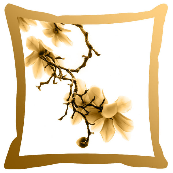 Leaf Designs Mustard Shaded Border Floral Cushion Cover