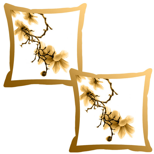 Leaf Designs Mustard Shaded Border Floral Cushion Cover - Set Of 2