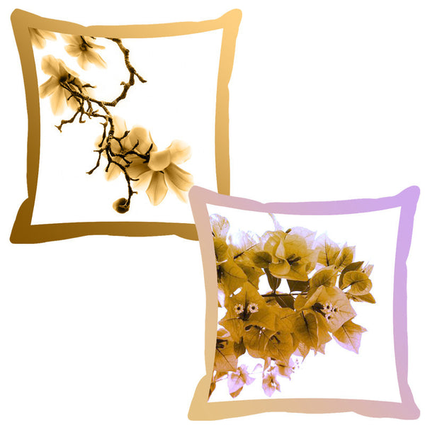 Leaf Designs Lilac & Beige Shaded Border Floral Cushion Cover - Set Of 2