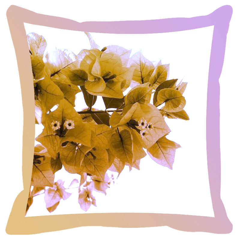 Leaf Designs Sand Shaded Border Floral Cushion Cover
