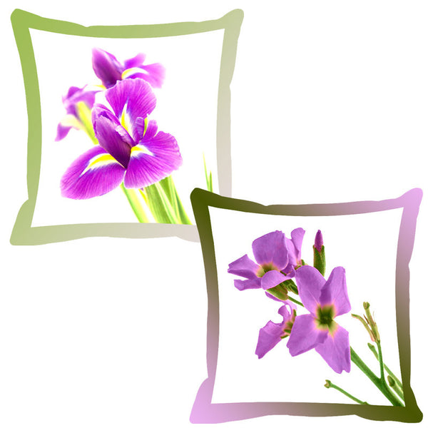 Leaf Designs Hazelnut & Purple Shaded Border Floral Cushion Cover - Set Of 2
